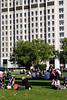 People having picnic  South Bank near the London Eye September 2009