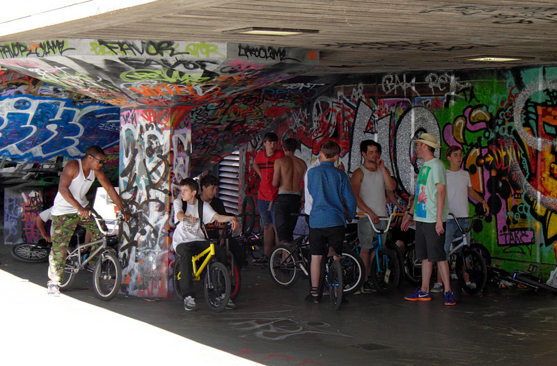 Teenagers with BMX bikes South Bank London July 2010