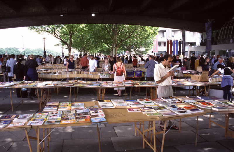 Open air second hand bookstore South Bank London