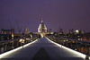 Millenium Bridge and St Paul's Cathedral London at night 2007