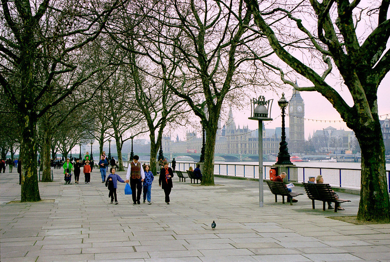 South Bank Promenade in winter London