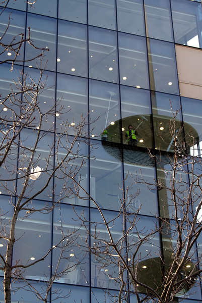 Window cleaners at office building South bank London