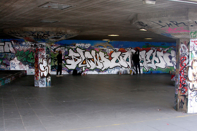Graffiti artists at the South Bank London February 2007