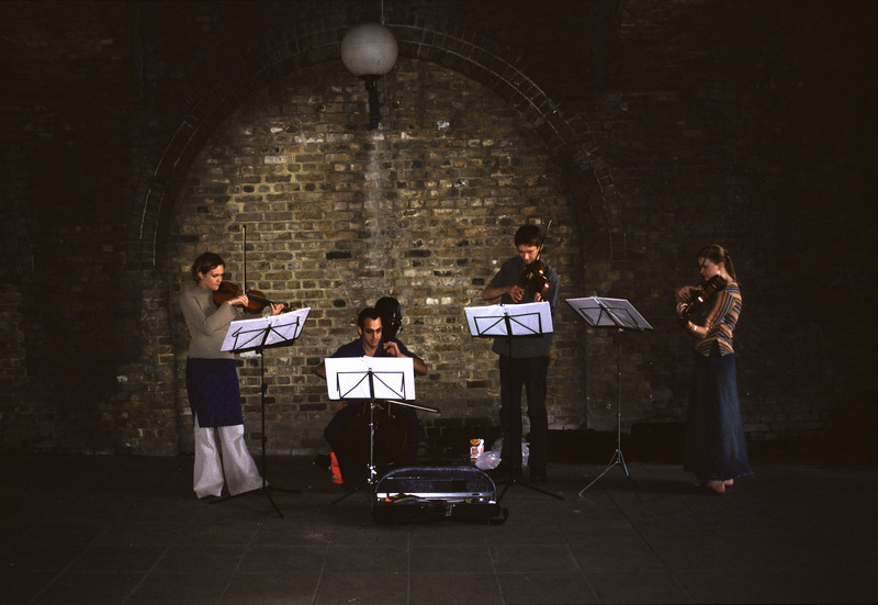 Buskers under Southwark Bridge London