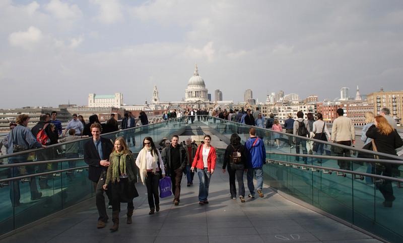 On the Millenium Bridge South Bank London
