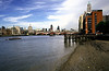 London skyline from riverbank at South Bank