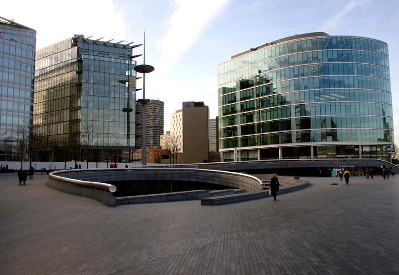 Office buildings and The Scoop South bank London