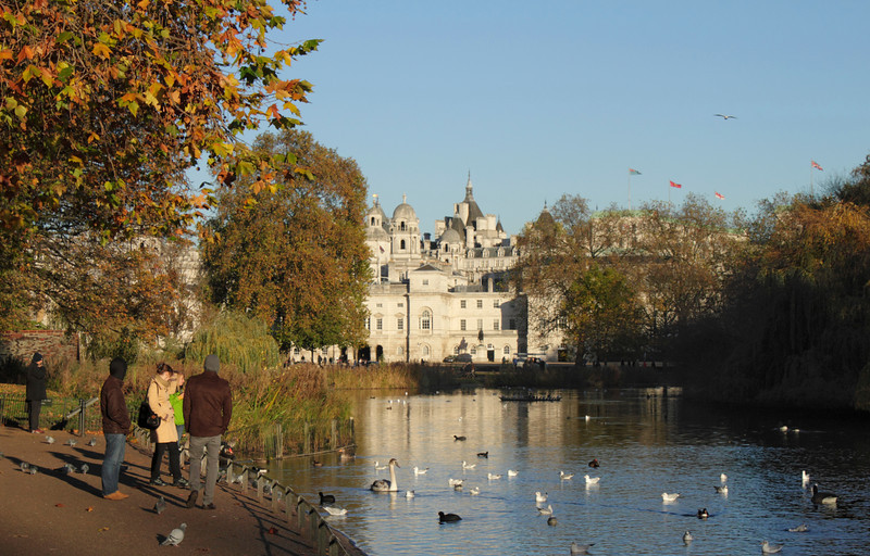 Lake at St James's Park London towards Whitehall Autumn 2010