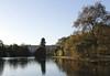 Lake at St James's Park London towards Buckingham Palace Autumn 2010