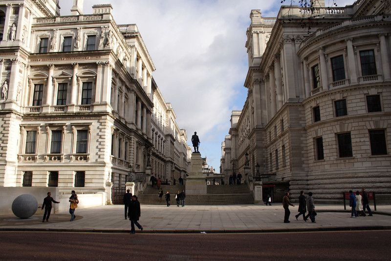 Statue of Clive of India London Foreign Office on left