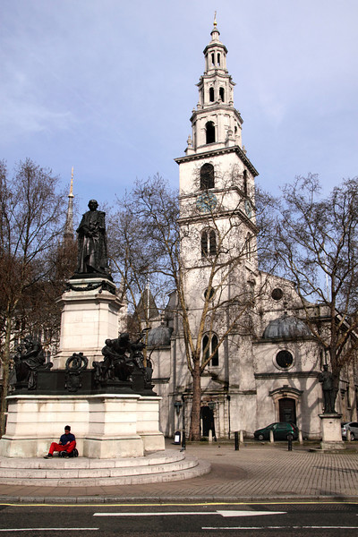 St Clement Danes Church and Gladstone Statue The Strand London