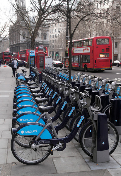 Parked bikes for rent at The Strand London March 2012