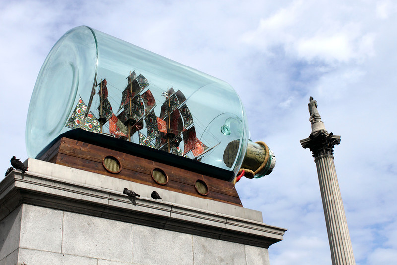 Ship in a big bottle at Trafalgar Square London July 2010