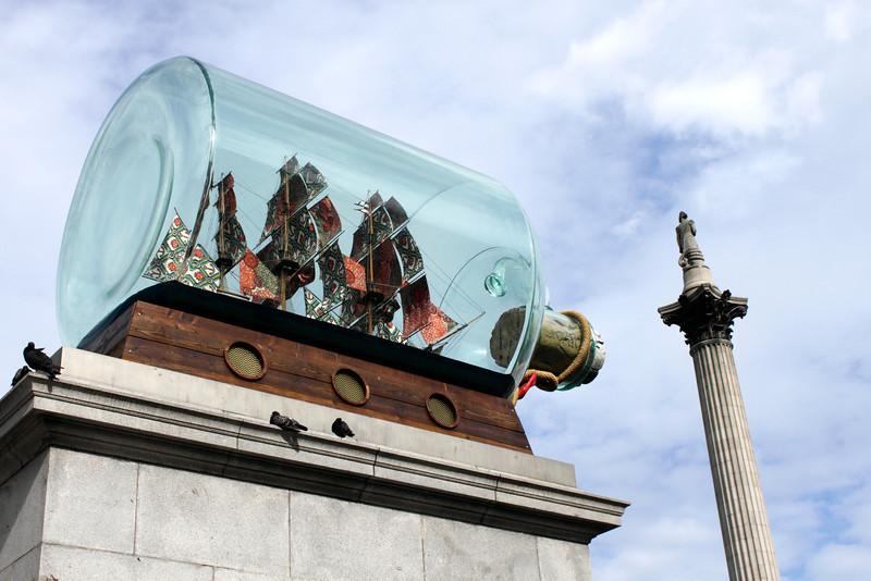 Ship in a big bottle at Trafalgar Square London July 2010