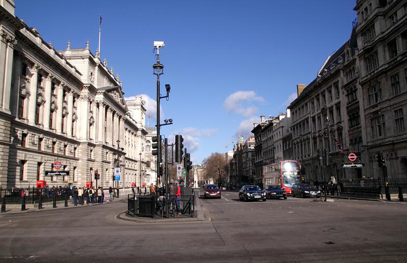 Parliament Street London Treasury building on left