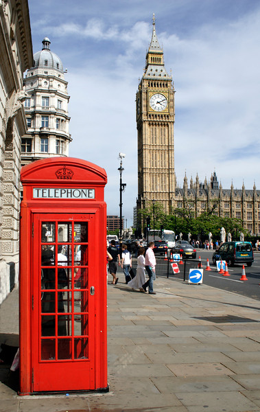 Big Ben and Red Telephone Box Westminster London