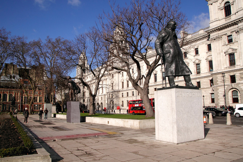 Statue of Winston Churchill at Parliament Square Westminster London