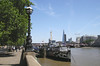 HMS President on the Victoria Embankment London recently repainted in Dazzle camouflage July 2014