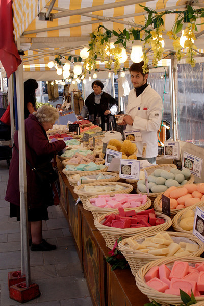 Soap and sponges stall at Market Place Henley Oxfordshire