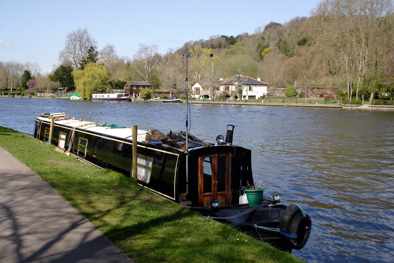 Houseboat on River Thames at Henley Oxfordshire