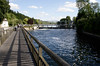 Wooden footbridge and weir at Henley Oxfordshire