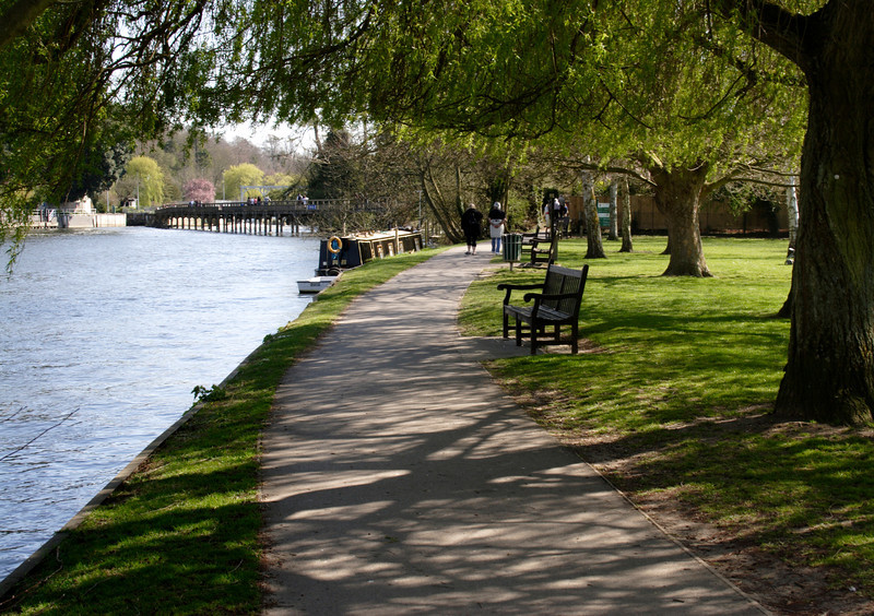 Thames Path river bank at Henley on Thames Oxfordshire