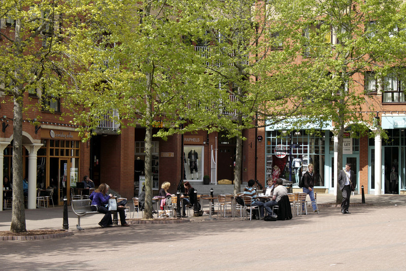 Outdoor cafe Gloucester Green Oxford May 2010