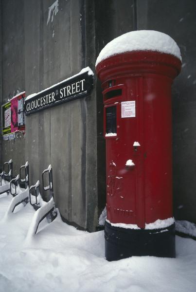 Post Box in the snow Oxford