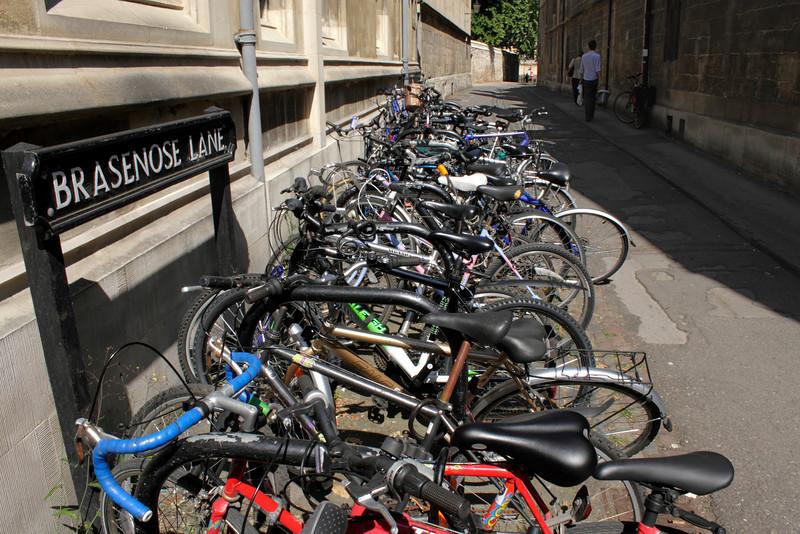 Parked bicycles Brasenose Lane Oxford June 2010