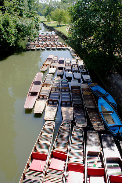 Punts on the River Cherwell Oxford view from Magdalen Bridge