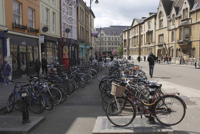 Parked bicycles Broad Street Oxford May 2010
