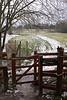 Public footpath fence and gate Shiplake Oxfordshire February 2009