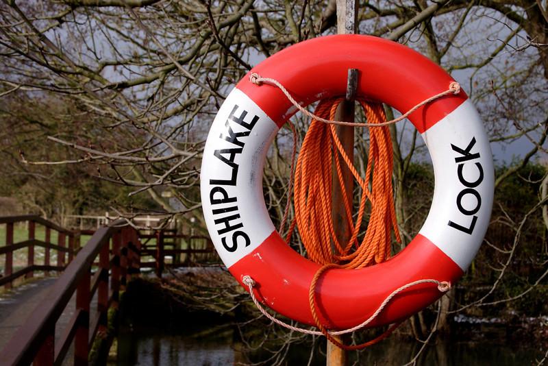 Lifeguard ring at Shiplake Lock Oxfordshire Winter 2009