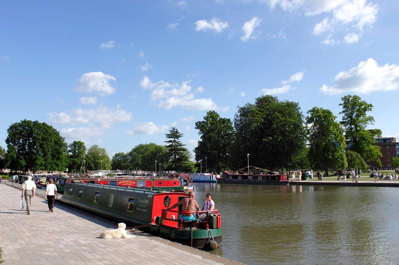 Houseboat moored at Bancroft Basin Stratford Upon Avon Warwickshire
