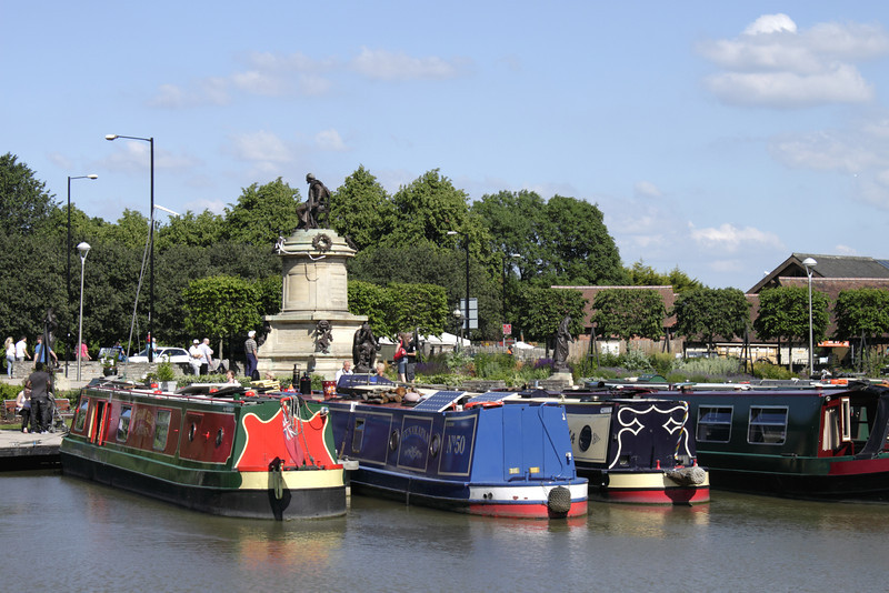 Houseboats moored at Bancroft Basin Stratford Upon Avon Warwickshire