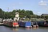 Houseboats moored at Bancroft Basin Stratford Upon Avon Warwickshire