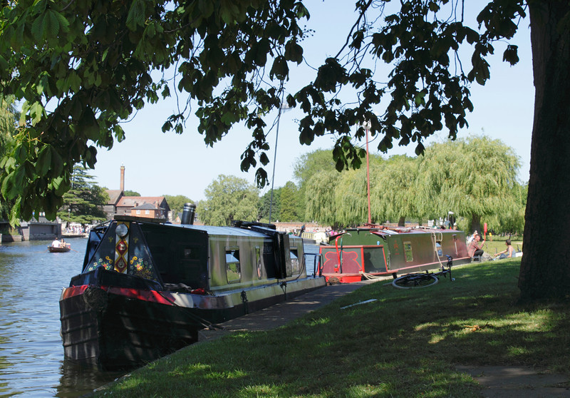 Houseboats moored in River Avon at Stratford Upon Avon Warwickshire