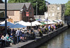Terrace of Cox's Yard riverside pub at Stratford Upon Avon Warwickshire