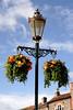 Hanging flower basket Market Place Wallingford Oxfordshire