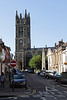 Church Street and Tower of St Mary's Church Warwick