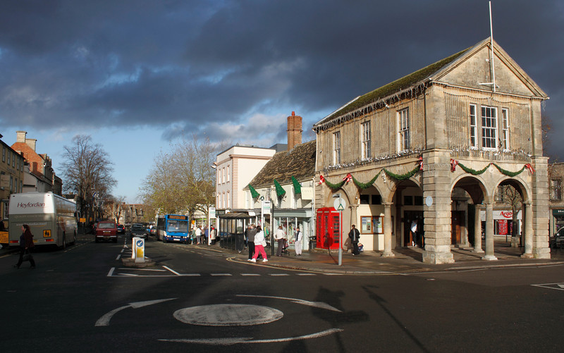 View of Market Square and High Street Witney Town Hall on right