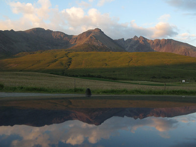 Cuillins & reflection in Car from Glenbrittle Beach at sunset