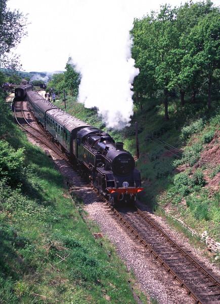 Steam Locomotive exiting Harmans Cross Station Dorset