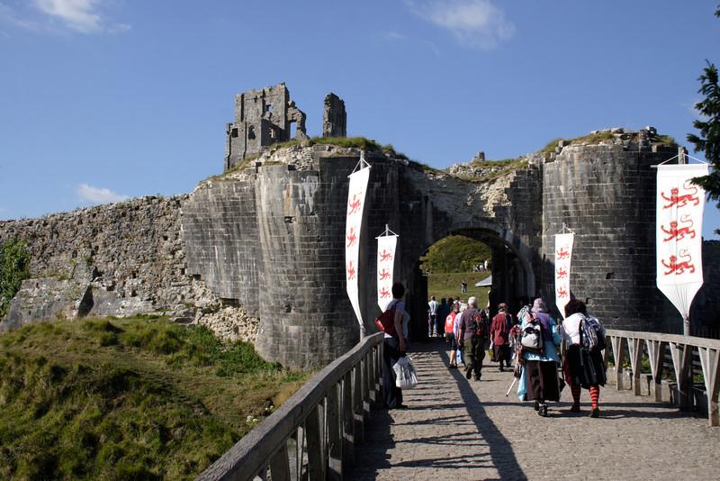 Entrance gate to Corfe Castle Dorset UK
