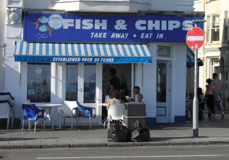 Fish and Chips shop at the seafront Brighton Sussex