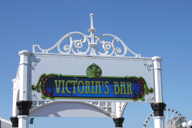 Victoria's Bar sign on Brighton Pier Sussex