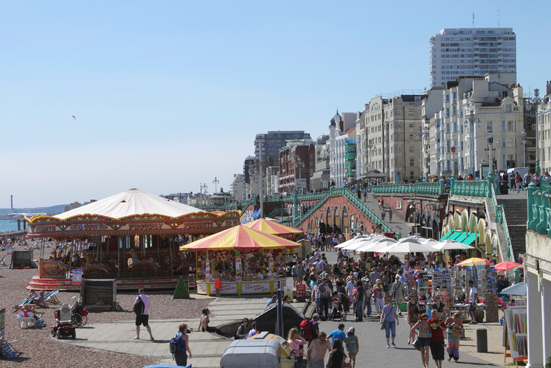 Seafront and carousels at Brighton Sussex