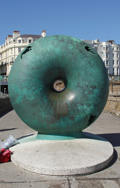 Afloat sculpture by Hamish Black at Brighton seafront Sussex