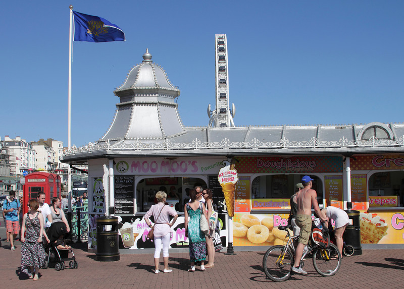 Ice cream stall at entrance to Brighton Pier Sussex