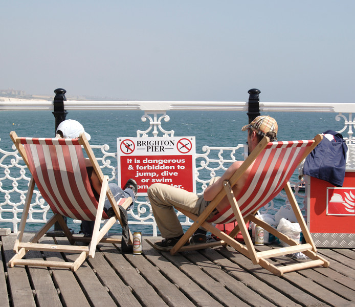Relaxing on the Palace Pier Brighton